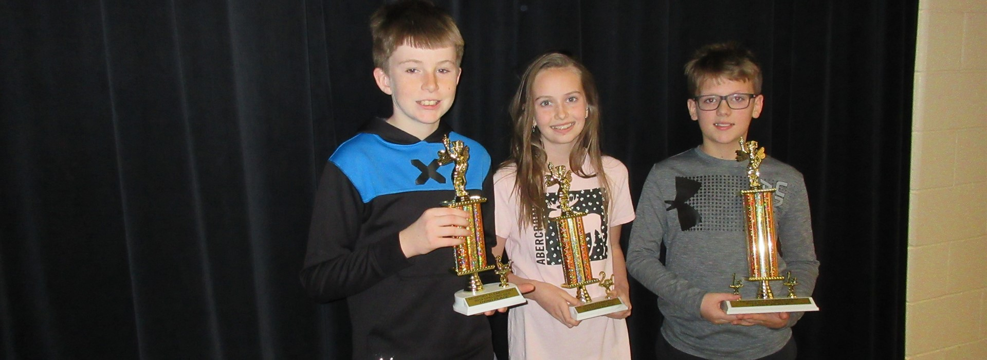 Newport Spelling Bee Winners 1st Peyton Russell (5th), 2nd Cali Swartz (6th), 3rd True King (6th)