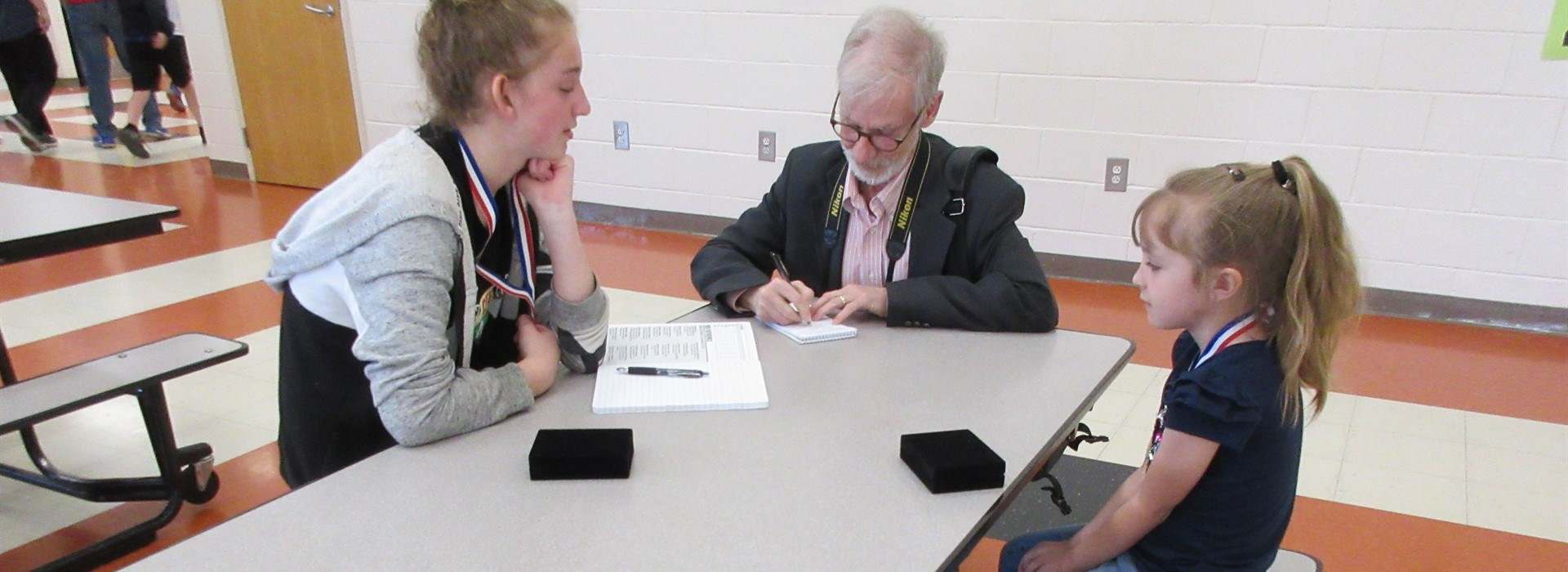 State Handwriting winners being interviewed